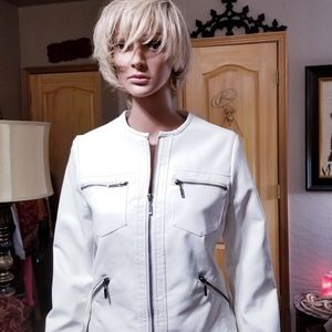 Faux Leather Moto Jacket in White